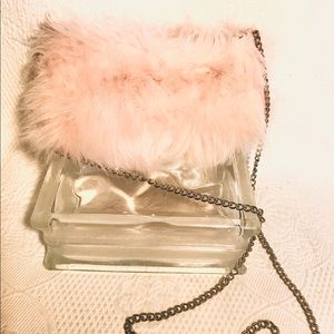 Forever 21 pink faux fur crossbody w/gold chain